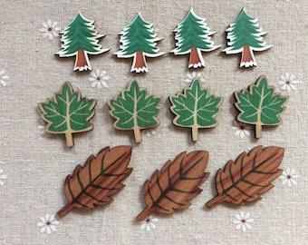 10Pcs Paint Wood Leaf  NW260