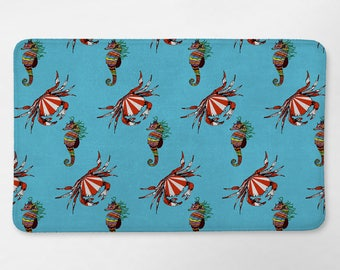 Seahorse and Crab Bath Mat, Life Aquatic Bathroom Decor, Sea Bath Mat, Bath Rug, Kids Bathroom Decor, Nautical Bath Mat, Blue Bathroom Decor