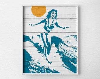 Hawaiian Surfer Girl Print, Surf Decor, Surf Print, Beach Print, Beach Art, Summer Decor, Beach Sunset Print, Beach Poster, Surfing Poster