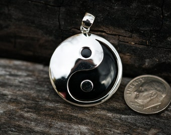 Sterling Silver Onyx Yin Yang pendant - Tai Chi Jewelry - Silver Onyx Yin Yang necklace - Meditation Necklace - Onyx pendant
