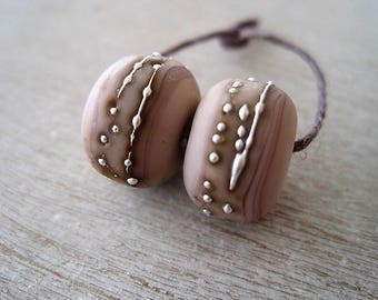 Glass Lampwork Bead pair of Etched Pale Creamy Pink with Fine Silver