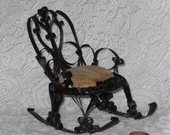 Rocking Chair Pin Cushion Tin Can Metal Quilled Tramp Art Dollhouse