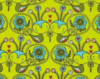Camelot Cottons - Petite Plume Love Birds, Chartreuse - Cotton Woven Fabric