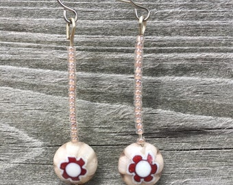 BoHo, Gypsy, Millifore Glass Flower, Long Dangle Earrings 021E