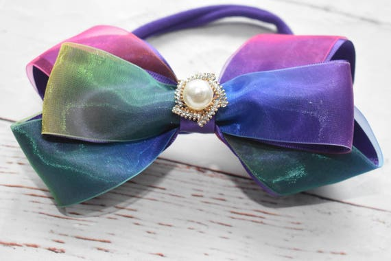 Purple rainbow bow headband - Baby / Toddler / Girls / Kids Headband / Hairband / Hair bow / Barrette / Hairclip