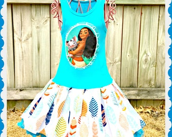 girls Moana dress 2/3 4/5 6/6X 7/8 10/12 14/16 ready to ship