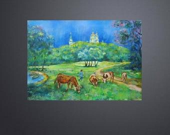 Picture Art Original Oil Landscape Painting After The Rain-Molchansky Monastery