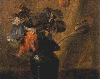 Vase with Flowers PDF Cross Stitch Pattern