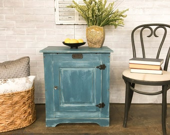 AVAILABLE: Blue Painted Ice Box / Cabinet
