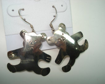 Sterling Silver Vintage Teddy Bear Detailed Pierced Earrings