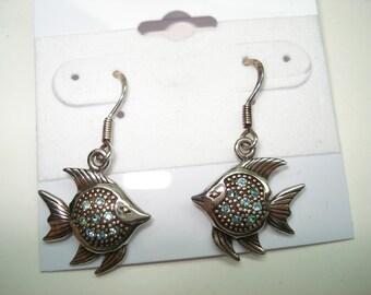 Sterling Silver Angel Fish Dangling Pierced Earrings