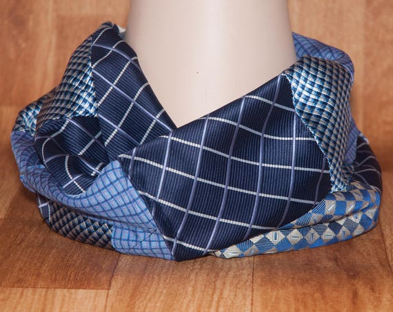 Handmade Patchwork Upcycled Necktie Scarf