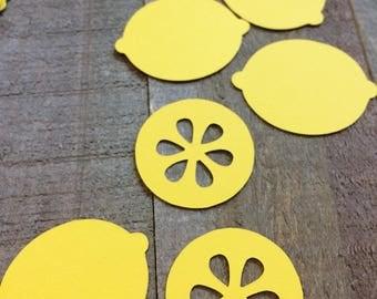 Lemon Table Confetti / Fruit Theme Party Decor Decoration Table Scatter Scrapbook Embellishments Die Cut Centerpiece C026