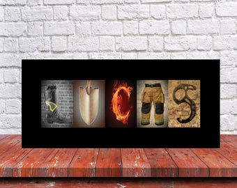 FireFighter Gift - Fathers Day Gift- Gift for Fireman - Fire Fighter Letter Art Print - Wedding Gift - Architectural Letter Art Print -