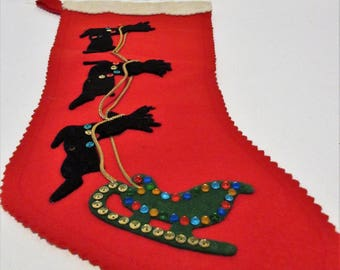 Vintage 1980's Red Felt Christmas Stocking