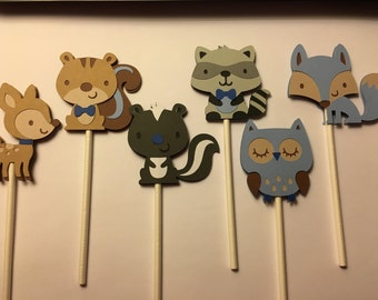 Woodland Cupcake Toppers Boy