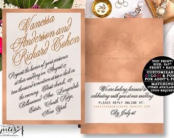 Rose gold wedding invitation, rose gold foil invitations, designer fashion, glitz and glam, bling, elegant, sophisticated bridal invites.