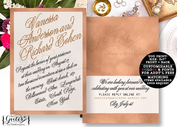 Rose gold wedding invitation, rose gold foil invitations, designer fashion, glitz and glam, bling, elegant, sophisticated bridal invites.