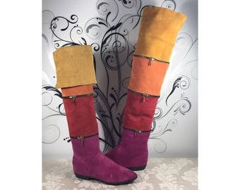Leather boots, Women's leather boots, Knee high boots, Rainbow boots, Stylish leather boot's, Size 7 1/2 shoes, Colorful boots