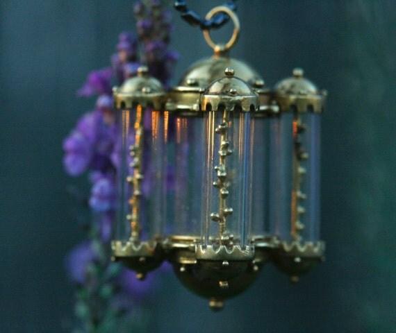 Handmade miniature pendant 18k gold diamonds glass Arabic lamp inspiration creative design handcrafted