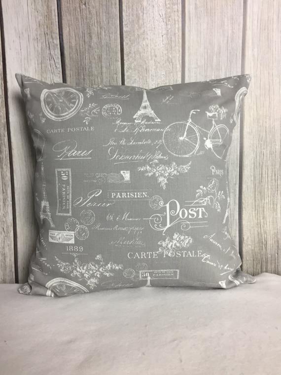 Throw Pillow. Paris Pillow. Grey Pillow. Pillow Cover. Grey and White Pillow.