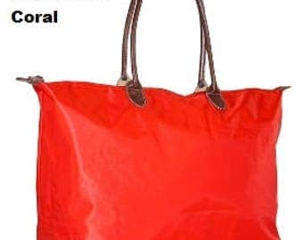 Monogrammed Weekend Travel Bag in Coral Includes monogram GREAT Gift or Bridesmaid gift more colors available see other listings