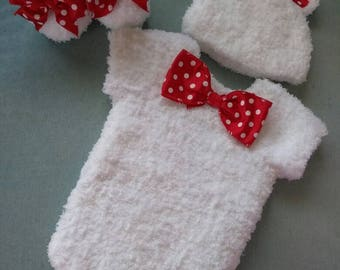 """Super soft and fuzzy crochet """" onsie"""" set"""