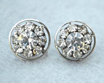 Rhinestone Silver Tone Earrings Vintage