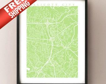 Ellicott City, MD Map - Baltimore Area, Maryland, USA Art Poster Print