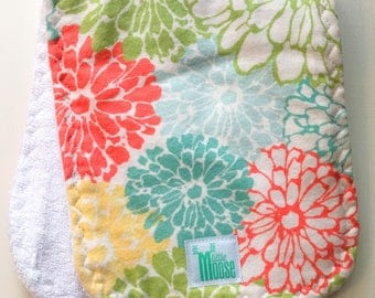Burp Cloth - Floral Bloom - Coral, Aqua, Yellow, Green - Flannel and Terry Cloth - Thick and Absorbant