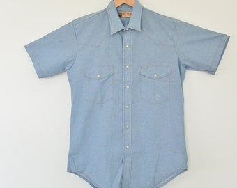 Big Mac Medium Chambray Work Shirt Short Sleeve Pearl Buttons Western Details New Never Washed or Worn Orange Stitching Cotton Polyester