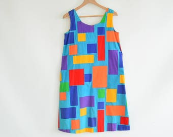 1960's David Brown Mod Sundress Mid Century A Line Shift Dress Geometric Graphic Print Size Large Sleeveless Dress