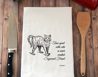 Cat Tea Towel Time Spent with Cats is Never Wasted Hand Towel