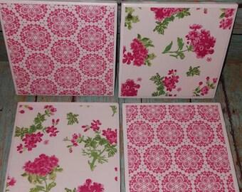 Pink Floral Ceramic Tile Coasters-Ceramic Tile Coasters - Coaster Set - Table Coasters  - Tile Coaster -  Coasters for Drinks