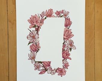 Mississippi State Print - Pink Magnolia