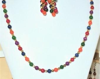 Multi-colored gemstone necklace & earrings set