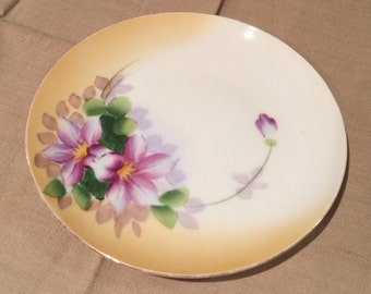 """Antique Meito China 6.5"""" Round Floral Plate Stamped  Gold Trim Japan"""
