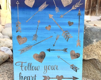 Follow Your Heart sign, Girls Decor, Teen Decor