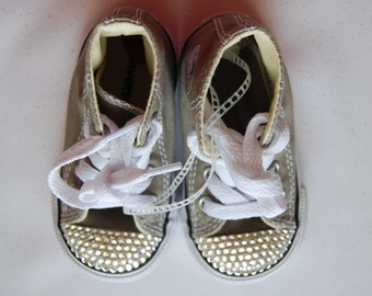 I-4 Unisex infant grey high top Converse with white rhinestones