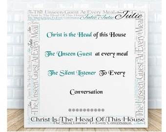 Christ is the Head of This House Ceramic Plaque. Personalised Gift