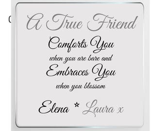Friendship Message Personalised Glass Plaque - True Friendship