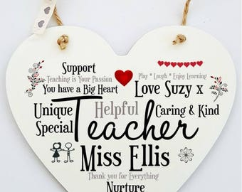 Teacher Personalised Word Art Heart Plaque
