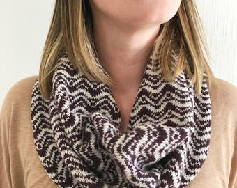 Plum knitted snood scarf, lambswool knit cowl, ladies knit snood, handmade knitted snood, geometric snood, knitted snood scarf