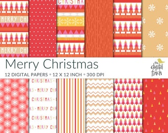"Merry Christmas Digital Papers - Xmas scrapbooking paper - 12x12"" - 300 dpi  - instant download - commercial use - royalty free"