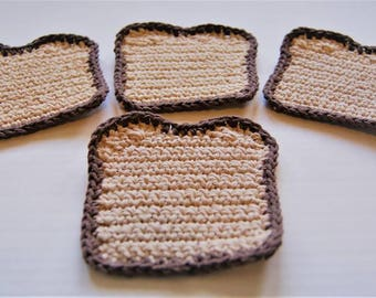 Toaster Coasters | Set of 4 Crocheted Coasters