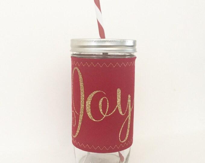 Joy Christmas - Mason Jar Tumbler 24oz -BPA free straw - personalized