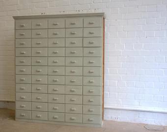 Large Bank Of Pine Haberdashery Drawers Circa 1950's