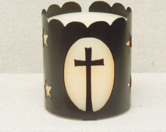 Christian Cross Jar Candle Holder for Yankee Candles and similar brands. Creating a warm and cozy glow.