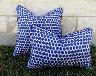 Blue and White Outdoor Pillow Cover-Blue Outdoor Pillow Cover - Ikat Dots Outdoor Pillow Cover-Waverly Seeing Spots Pillow-Cobalt Pillow