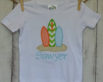 Personalized Surfboards Applique Shirt or Onesie Boy or Girl